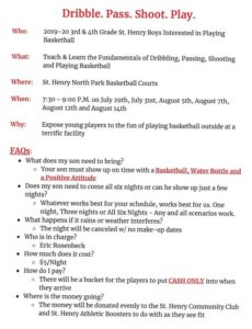 2019-20 3rd & 4th Grade SH Boys interested in playing Basketball