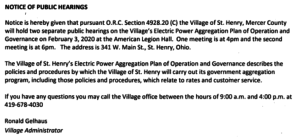 Public Hearing-Electric Power Aggregation